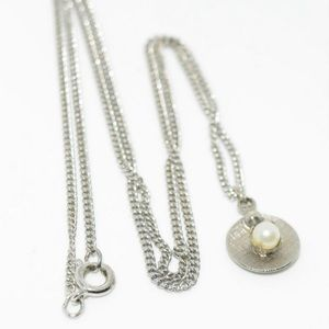 Vintage Sterling Silver Dainty Faux Pearl Necklace